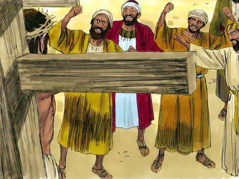  Those who passed by hurled insults at Jesus, shaking their heads and saying, 'You said you would destroy the temple and rebuild it in three days. Come down from the cross and save yourself.' – Slide 5