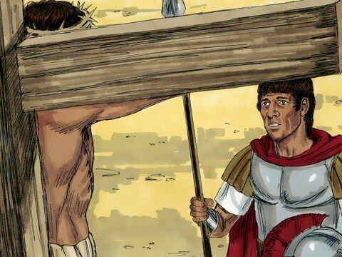 The Roman centurion, in charge of the crucifixion, who had been watching Jesus die, suddenly praised God and said, 'Surely this was the Son of God.' – Slide 10