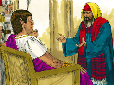 A good and upright man, named Joseph from Aramethea, who was a member of the Jewish council, went to Pilate and asked permission to bury Jesus. Pilate agreed. – Slide 12