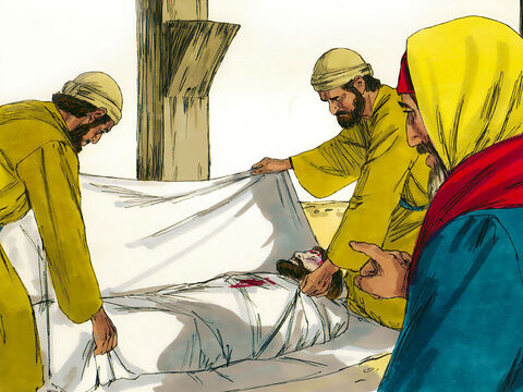 Joseph took the Jesus' body down, wrapped it in linen cloth and took it to an empty tomb cut in the rock. – Slide 13