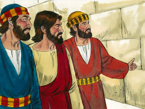 As they were leaving the temple, some of Jesus' disciples remarked how the temple was adorned with beautiful stones and with gifts dedicated to God. – Slide 1