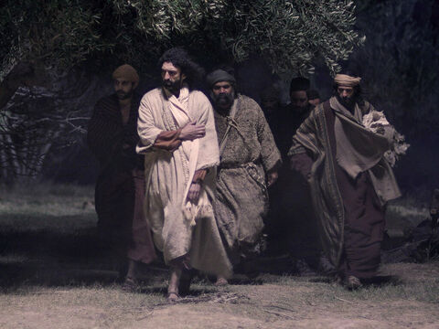 Jesus and His disciples left the upper room and headed for the Mount of Olives to a place they regularly went to, called the Garden of Gethsemane. – Slide 1
