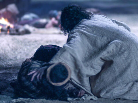 When Jesus returned the disciples were asleep again. 'Are you sleeping and resting?' Jesus asked. 'Look, the hour has come and the son of Man is delivered into the hands of sinners. Rise, let's go! Here comes my betrayer!' – Slide 11
