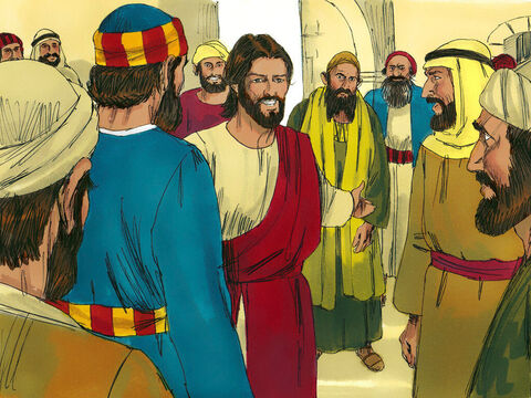 After taking Peter, James and John up a mountain to pray during the night, Jesus returned to meet with His disciples. A large crowd was there and the teachers of the law were arguing with the disciples. 'What are you arguing about?' Jesus asked. – Slide 1