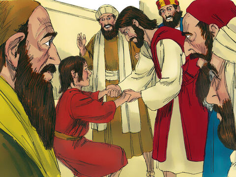But Jesus took him by the hand and lifted him to his feet, and he stood up. – Slide 10