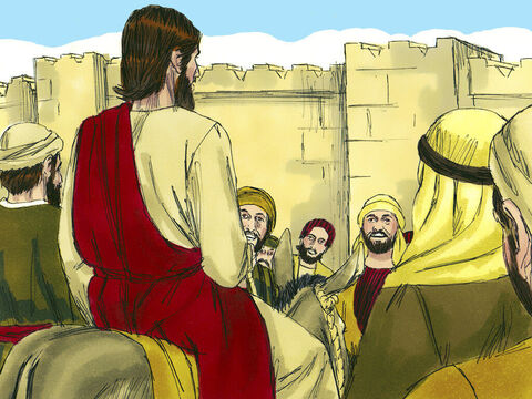 The two disciples led the colt back to Jesus. They threw their coats on the young donkey then Jesus sat on it. – Slide 6