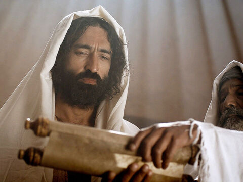 When it was time to read the scriptures He stood up and the scroll of the prophet Isaiah was handed to Him. – Slide 4