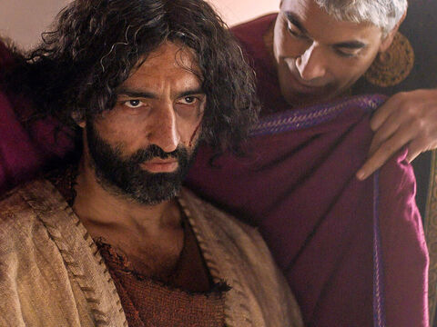 They mockingly dressed Jesus in a purple royal robe and sent Him back to Pilate. That day Pilate and Herod became friends; previously they had been enemies. – Slide 12