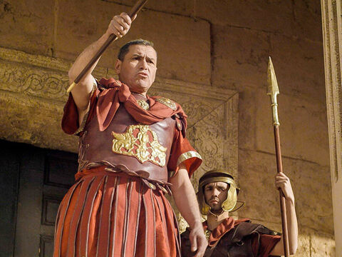 Pilate addressed the chief priests and rulers of the people. 'I do not find this man guilty of the charges you bring against Him. Herod has done the same and found no basis for your accusations. I am going to punish Him and then release Him.' – Slide 14