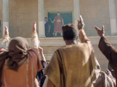 Pilate could see the crowd was getting out of control. He washed his hands in front of them and declared, 'I am innocent of this man's blood. It is your responsibility.' – Slide 20
