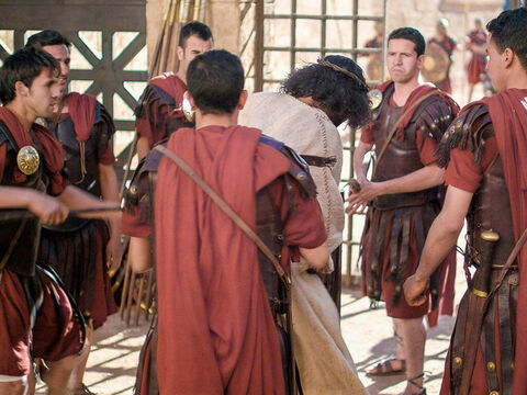 Pilate released Barabbas and handed over Jesus to be flogged and crucified. – Slide 22