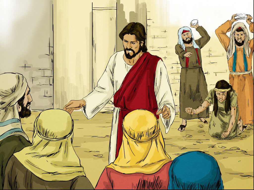 FreeBibleimages :: Jesus and the adulterous woman :: Jesus