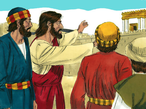 Jesus had been staying on the Mount of Olives and early in the morning He travelled to the Temple in Jerusalem. – Slide 1