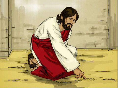Jesus bent down and started to write on the ground with His finger. When they kept on questioning Him, He straightened up and said, 'Let any one of you who is without sin be the first to throw a stone at her.' Then Jesus stooped down and wrote on the ground once more. – Slide 5