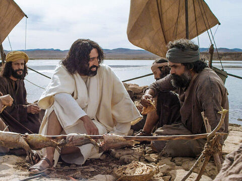 Jesus appeared after His resurrection to some of His disciples one morning on the shore of Lake Galilee. When they had finished eating, Jesus spoke with Simon Peter. – Slide 1
