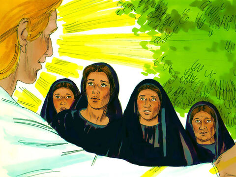 When the women arrived at the tomb they noticed the large stone covering the entrance had been rolled back. As they entered the tomb they saw the angel and were alarmed. – Slide 4