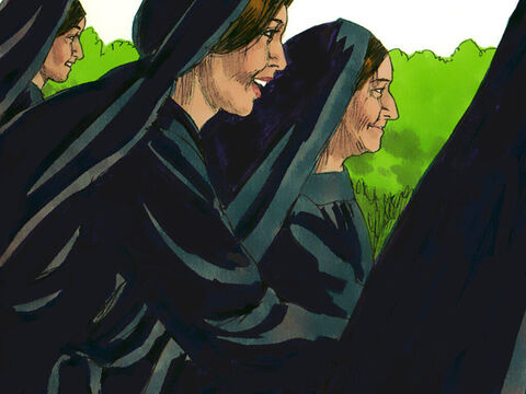 The women rushed off to tell the disciples Jesus was alive. But the disciples did not believe them. Peter and John ran to the tomb to see what had happened. – Slide 9
