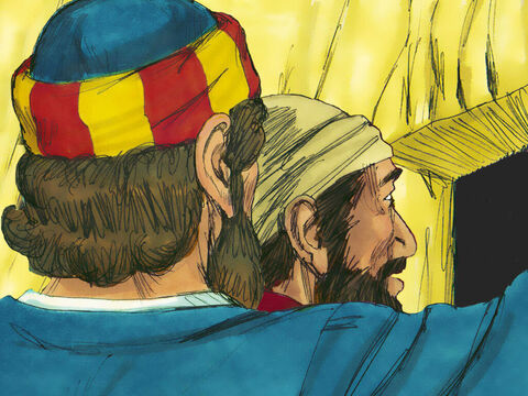 John arrived first and stared into the empty tomb. He saw strips of linen lying there but did not go in. Simon Peter caught up and went straight into the tomb. – Slide 10