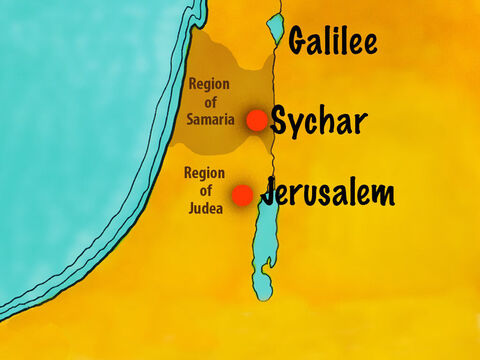 There was a history of feuds and grudges between the Jews and Samaritans and they did not talk to each other. At noon, Jesus and His disciples arrived at a well on the edge of a town called Sychar. – Slide 2