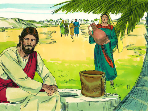 Jesus sat by the well to rest while His disciples went into the town to buy food. A Samaritan woman came to draw some water. – Slide 3