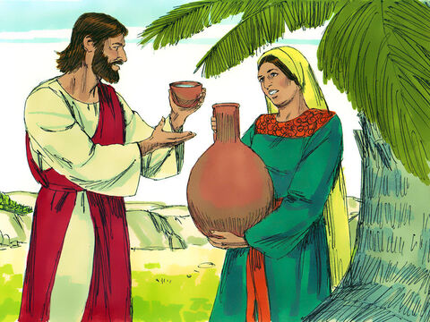 'You don't have anything to draw water from this deep well. Where would you get life-giving water?' the woman asked. Jesus answered, 'Those who drink ordinary water will get thirsty again, but I am talking about the life-giving water of eternal life.' – Slide 6