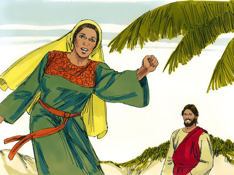 At that point the disciples returned. The woman left her water jar and raced went back into the town telling everyone, 'Come and meet the man who told me everything I have ever done. Could He be the Messiah?' – Slide 12
