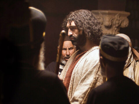 After being questioned by Annas, Jesus was taken before Caiaphas the High Priest and the Jewish leaders (Sanhedrin) who had been assembled that night. – Slide 1