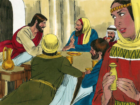 The guests reclined on couches around the meal table. A woman (with a reputation for living immorally) heard that Jesus was at Simon's house and brought an exquisite flask filled with expensive perfume. – Slide 2