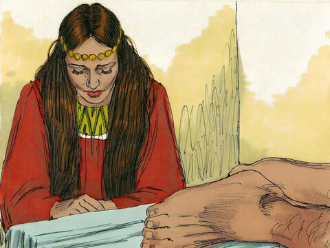 When she saw Jesus she knelt behind Him weeping. Her tears fell down upon His feet and she wiped them off with her hair. – Slide 3
