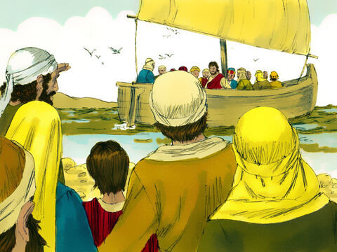 Leaving the crowds behind they got into a boat and set off. – Slide 2