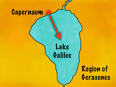 The trip across the lake was around 13 miles (21 km) and would take them to the region of Gerasenes. – Slide 3