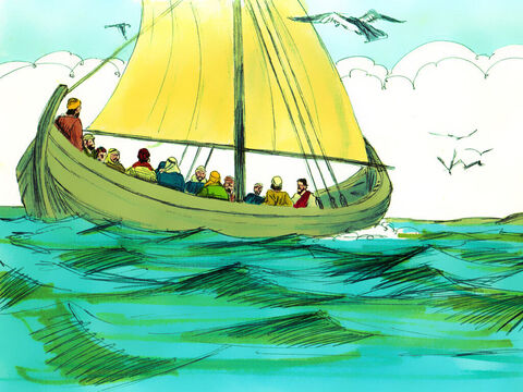 The weather was calm when they set off and Jesus was very tired. He lay down to sleep on a cushion in the back of the boat. – Slide 4