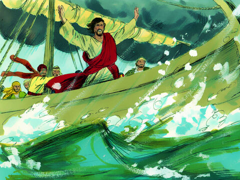 Jesus stood up in the violently rocking boat and gave orders to the wind and the waves, 'Quiet! Be still!' – Slide 8