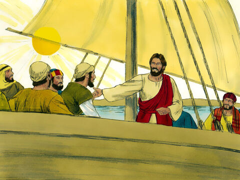 The wind died down and it was completely calm. 'Why were you so afraid?' Jesus asked his disciples. 'Where is your faith?' – Slide 9
