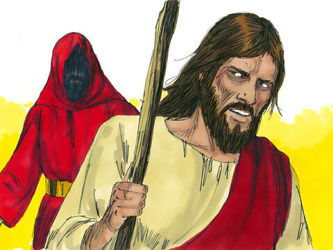 """Jesus said to him,'Away from me, Satan! For it is written: """"Worship the Lord your God, and serve Him only.""""' – Slide 7"""