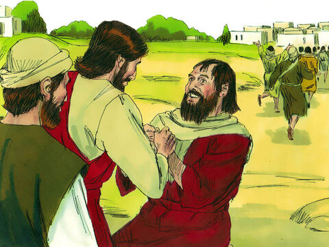 One of them, a Samaritan man, when he saw that he was healed, came back to Jesus, shouting, 'Praise God!'He fell to the ground at Jesus' feet, thanking him for what he had done. – Slide 4