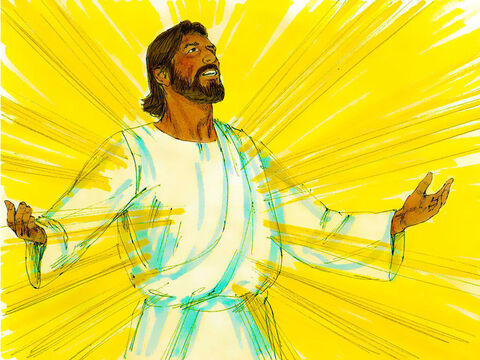 As Jesus prayed, the appearance of His face changed, and His clothes became as bright as a flash of lightning. – Slide 4
