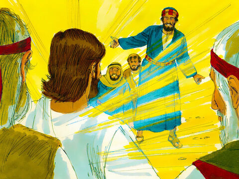 Peter, James and John woke up and saw the glory of Jesus and the two men standing with Him. They were frightened and Peter blurted out, 'Let's make three shelters for Jesus, Moses and Elijah.' – Slide 6
