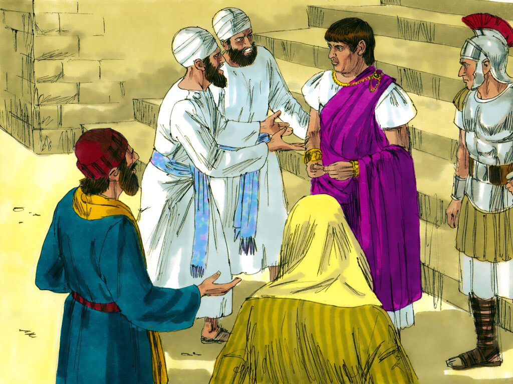 freebibleimages    jesus on trial before herod and pilate