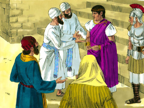 Early in the morning the chief priests and elders bound Jesus and took Him to Pilate the Roman Governor. – Slide 1