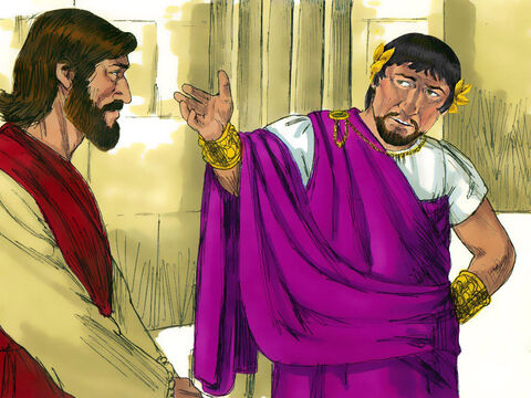 Herod was pleased to meet Jesus as he had heard a lot about Him and demanded that Jesus perform a miracle. Jesus did not respond. The Chief Priests and elders stood there making accusations against Jesus. Jesus kept quiet. – Slide 7