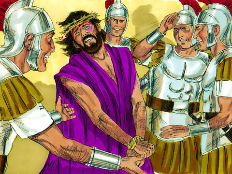 Then Herod mockingly dressed Jesus in a royal robe and put a crown of thorns on His head. Herod's soldiers ridiculed and hit Jesus. – Slide 8