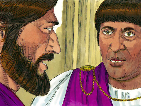 Pilate summoned Jesus and asked. 'Are you the King of the Jews?' Jesus replied, 'My kingdom is not of this world. If it were, my servants would fight to prevent my arrest.' 'So you are a King then?' said Pilate. 'The reason I was born and came into the world is to testify to the truth,' Jesus answered. – Slide 10