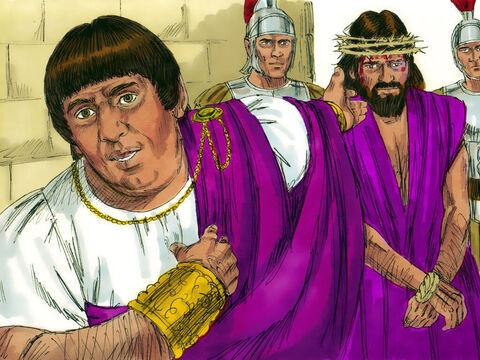 ­ Pilate addressed the Chief Priests and rulers of the people. 'I do not find this man guilty of the charges you bring against Him. Herod has done the same and found no basis for your accusations. I am going to punish Him and then release Him.' – Slide 11