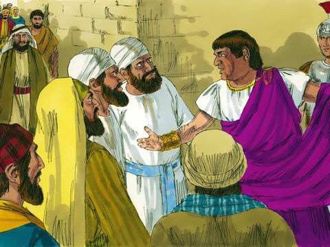 While this was going on Pilate's wife sent him a message. 'Don't have anything to do with that innocent man, for I have suffered a great deal in a dream because of Him.' It was the custom for a prisoner to be released at the Passover feast. So Pilate asked the crowd. 'Who do you want released, Barabbas or Jesus?' Barabbas had been imprisoned for leading a rebellion and for murder. 'Barabbas,' they shouted back. – Slide 13