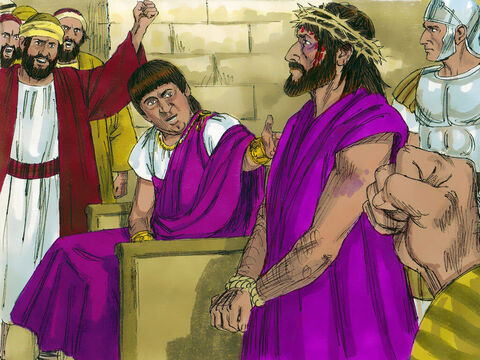 'What shall I do with Jesus who is called the Messiah?' Pilate asked. 'Crucify Him!' came the reply. – Slide 14