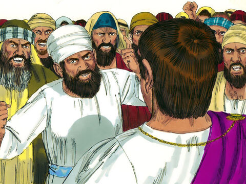 Pilate could see the crowd was getting out of control. He washed his hands in front of them and declared, 'I am innocent of this man's blood. It is your responsibility.' The crowd replied, 'His blood be on us and our children.' – Slide 15