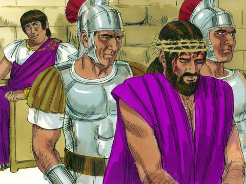 Pilate released Barabbas and handed over Jesus to be flogged and crucified. – Slide 16