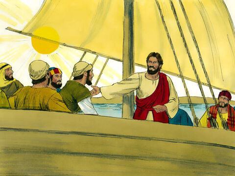 After calming a terrible storm, Jesus and His disciples continued their journey across Lake Galilee. – Slide 1