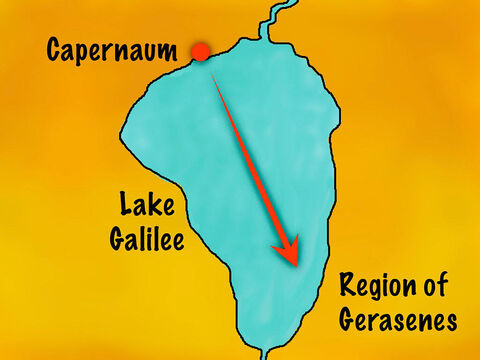 Their destination was a region called the Gerasenes on the other side of the lake from where they lived. It was an area where there were many Greeks, Romans, and Arabs as well as Jews. – Slide 2